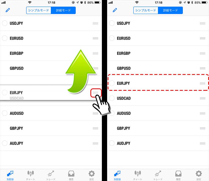 MT4アプリ 気配値画面整理