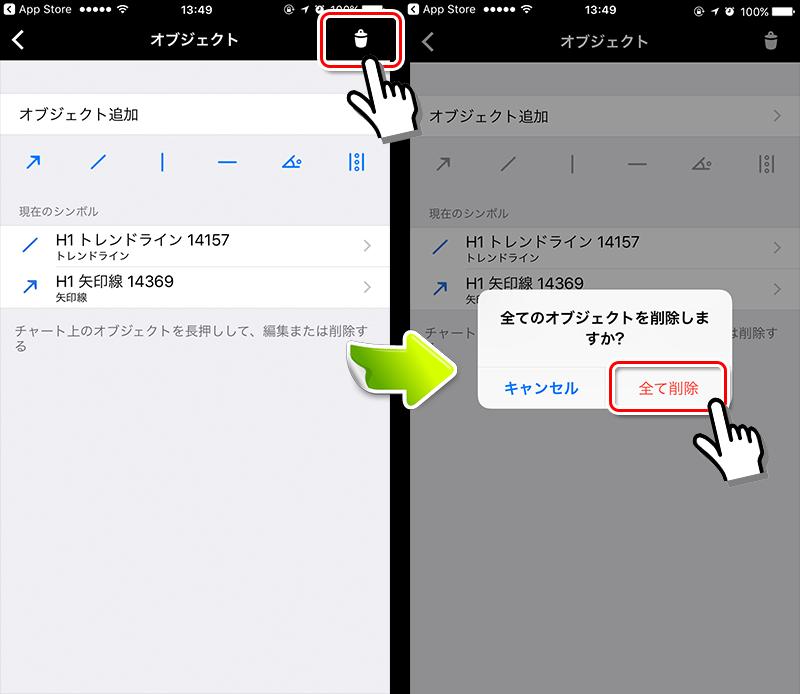 MT4アプリ オブジェクト一括削除